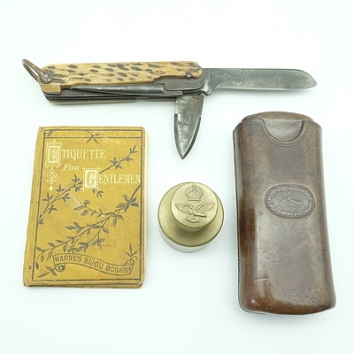 Antique English Medley Pocket Knife, Including Brass Weight RAAF Emblem, Miniature Etiquette for Gentlemen Book and More
