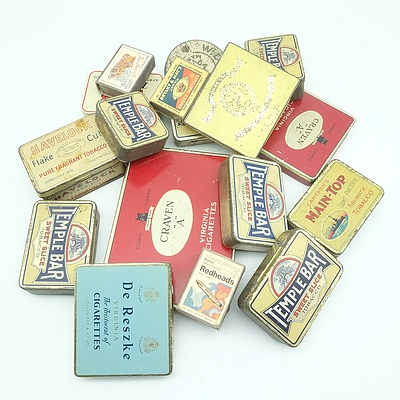 A Group of Vintage Tobacco and Cigarette Tins, Including Virginia Cigarettes, Temple Bar and More