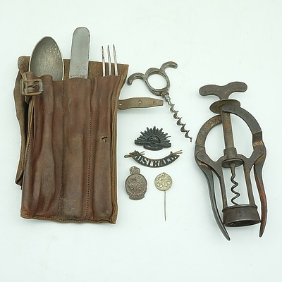 Antique Leather Wrapped Mess Set With Australian Military Badges, James Heeley & Sons Bottle Opener and More