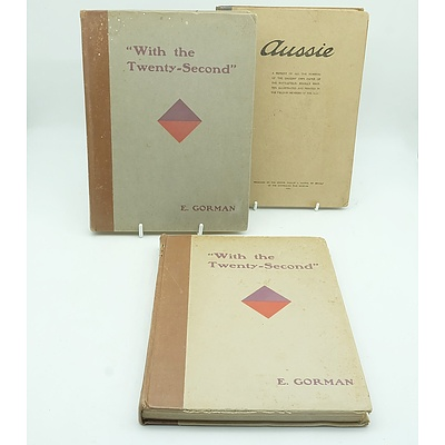 Two Volumes of With the Twenty Second by E. Gorman and Aussie by Major-General Sir C. B. B. White