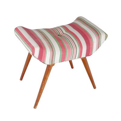 Retro Red, Green and White Fabric Upholstered Stool 1950s