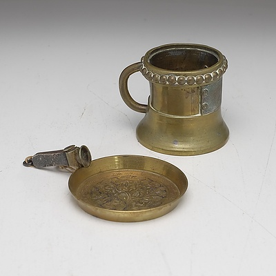 Antique Cast Brass Measure, Sterling Silver and Brass Cutter, Vintage Military Mirror and Indian Engraved Brass Dish
