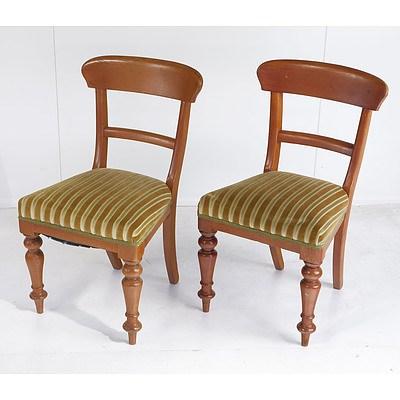 A Pair of Australian Cedar Green Fabric Upholstered Bar Back Dining Chairs