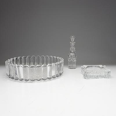 Vintage Mouldered Glass Fruit Bowl, Ashtray and Vinegar Bottle