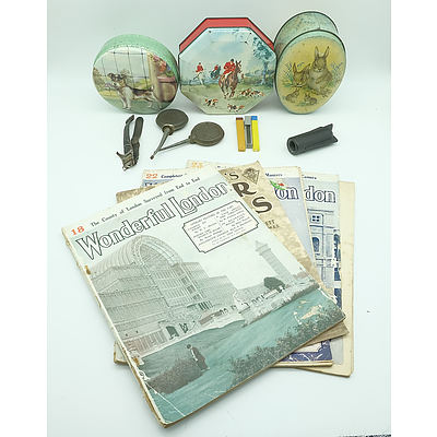 Group of Vintage Ephemera and Tins, Including Embassy Toffees