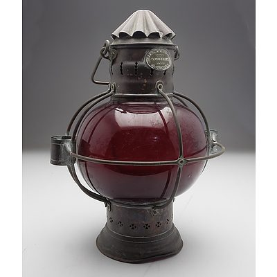 Antique Copper and Red Glass Murray McVinnie and Co Lifeboat Oil Lantern