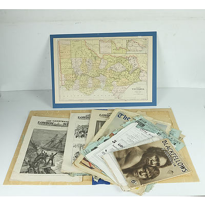 Group of Antique and Vintage Ephemera, Including Picturesque Atlas, The Illustrated London News, The Argus and More