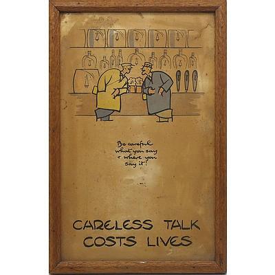 British Second World War Careless Talk Costs Lives Lithograph, Fougasse