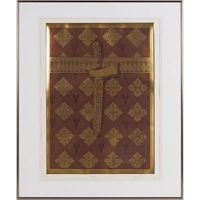 Raja Azhar Idris (Malaysian Australian 1952-) Kris 1984, Aquatint Etching Edition 1/30