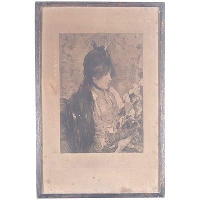 "After Alfred Stevens (Belgian 1823-1906) ""La bête à Bon Dieu"" Engraved by Felix Jasinski (Polish 1862-1901)"