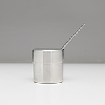 George Jensen Danish Stainless Steel Sugar Bowl with Internal Enamel Glaze