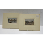 Two Late Victorian Hand Coloured Engravings, Shepparton and Punt Crossing River Murray, at Yarrawonga