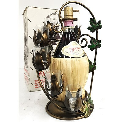 Chianti Bar Wrought Iron Display with 1.5Litre Bottle of Principe Chianti with 6 Crystal Glasses