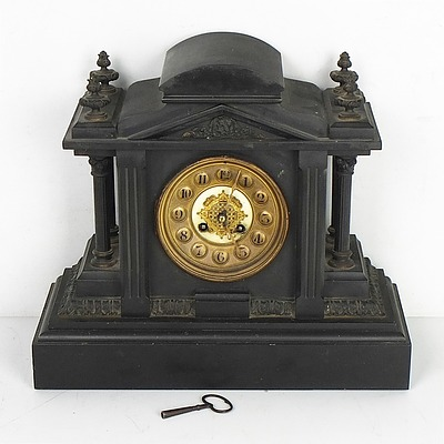 Antique F. Martin Slate Mantle Clock Circa 1900