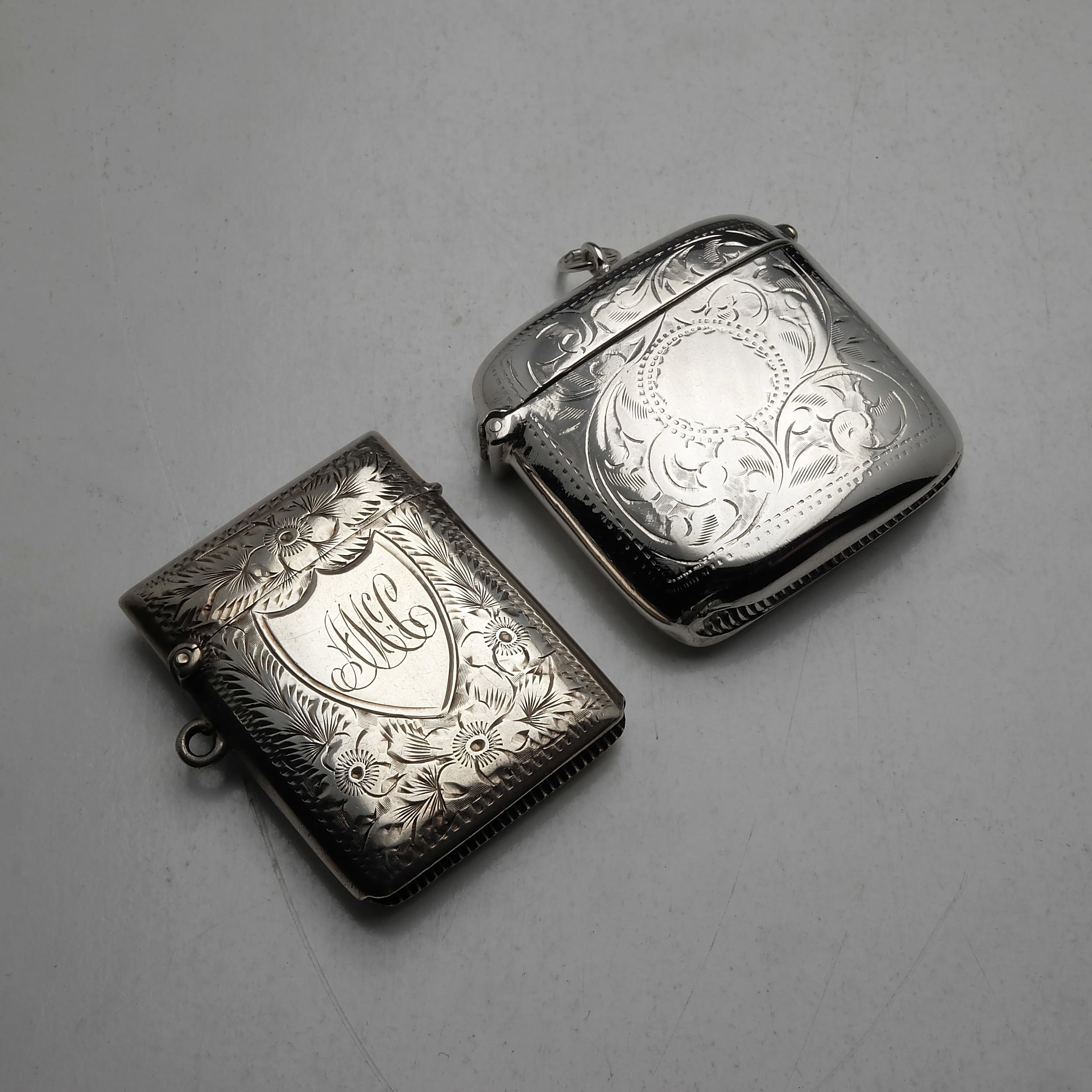 'Two Sterling Silver Vestas, Including Chester Richmond Parker 1901 62g'