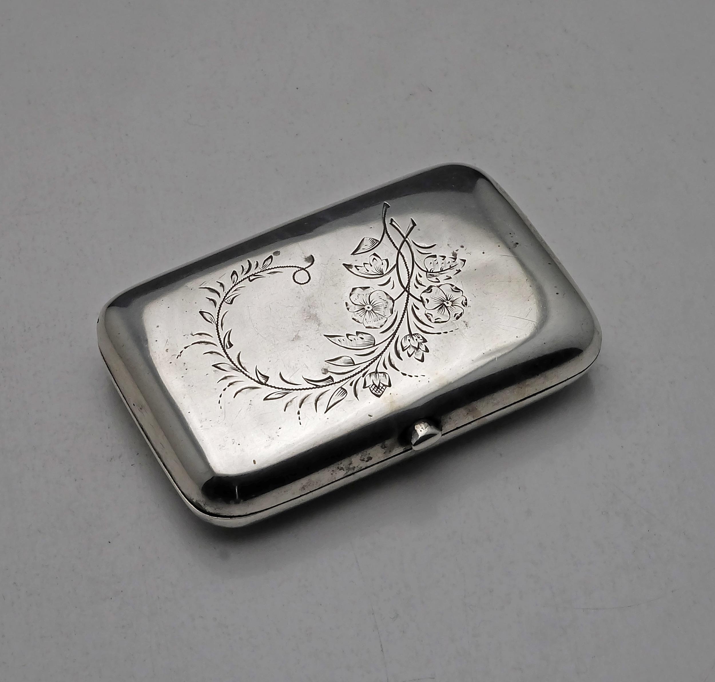 'Bright Cut 840 Silver Cigarette Case Moscow A.A 1894 97g'