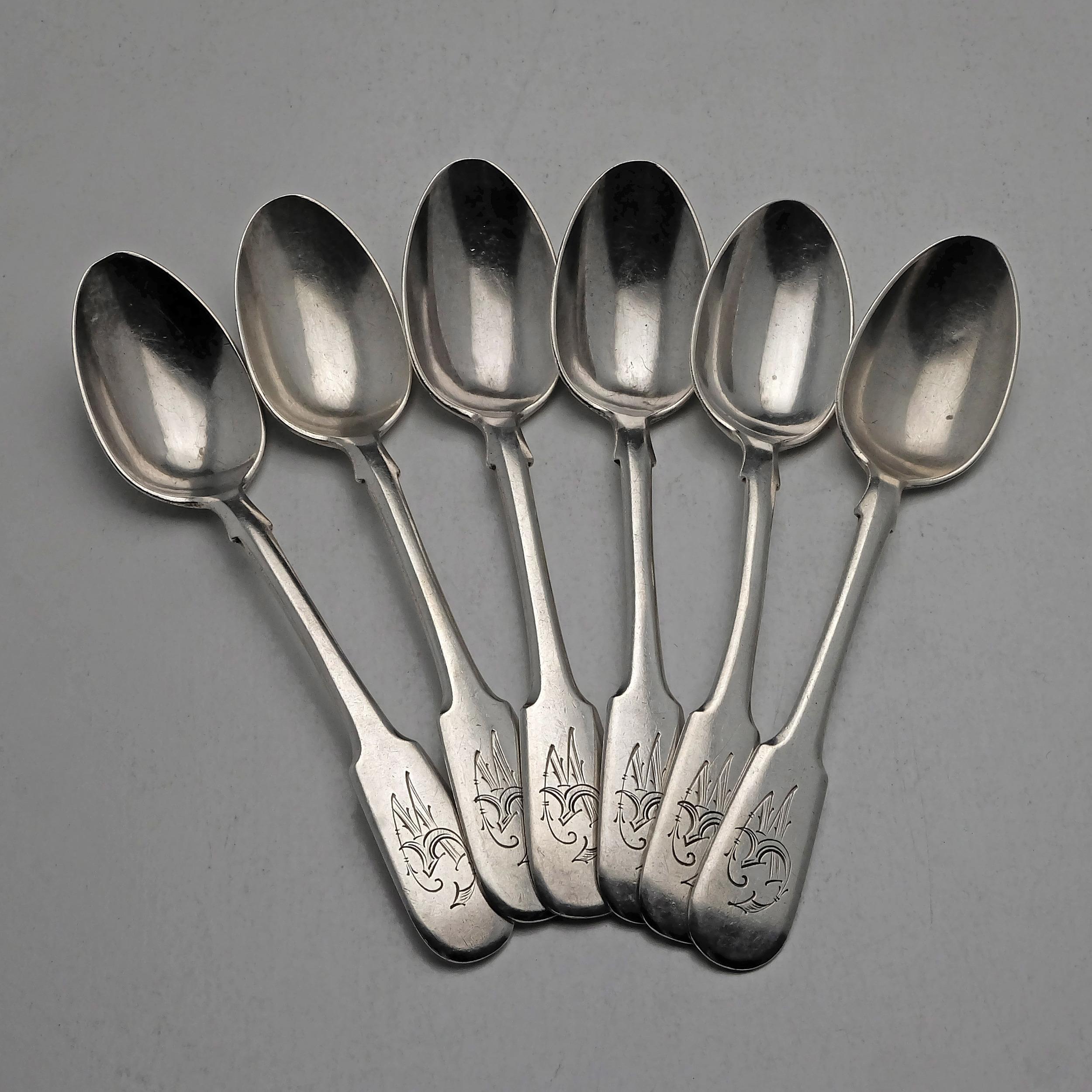 'Set of Six Russian 875 Silver Teapsoons, Pavel Fedorovich Sazikov, St Petersburg 1864'