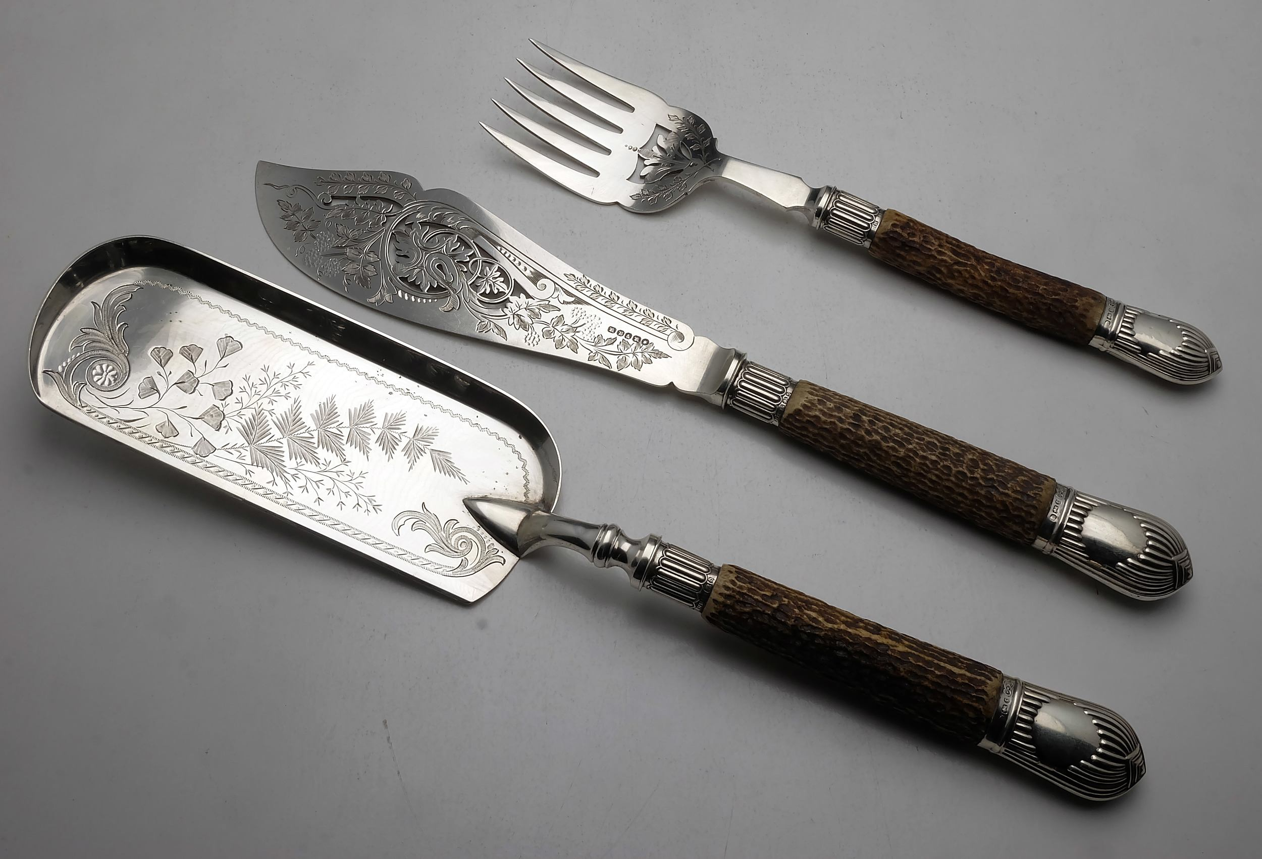 'Three Piece Silver Plate, Antler and Sterling Silver Mounted Serving Set, Sheffield Harrison Brothers and Howson'