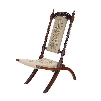 Carved and Pierced Walnut Folding Chair with Tapestry Upholstery of Wildflowers, Late 19th Century