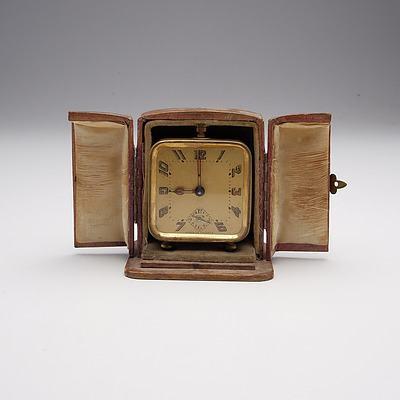 Vintage French Brass Cased Traveling Alarm Clock