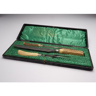 English Joseph Rogers and Sons Three Piece Carving Set in original Box, Circa 1920s