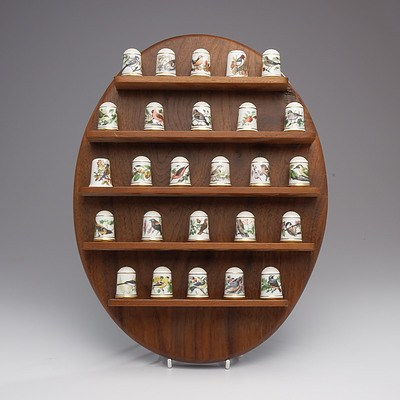 Set of Twenty Six Franklin Porcelain Thimbles with Wall Display Plaque