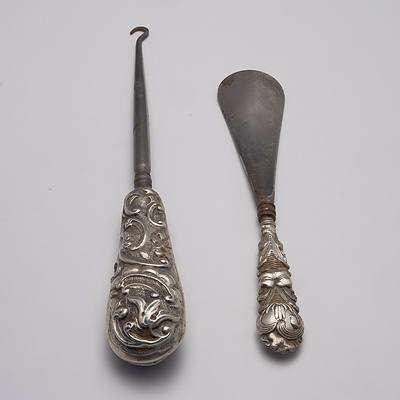 English Silver Handled Shoe Horn and Button Hook
