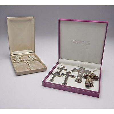 Group of Rosary Beads and Crucifixes