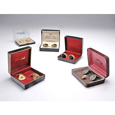 Five Boxed Pairs of Gents Cufflinks
