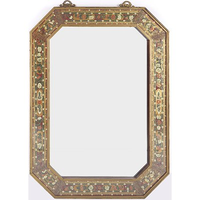 Asian Octagonal Beveled Glass Mirror with Hand Painted Border