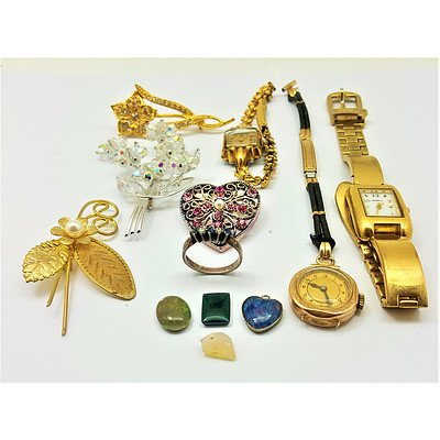 Assorted Vinatage Watches and Vintage Costume Jewellery - Including 9ct Yellow Gold Ladies Watch