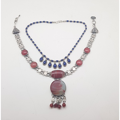 Two Sterling Silver and Semi-Precious Stone Necklaces