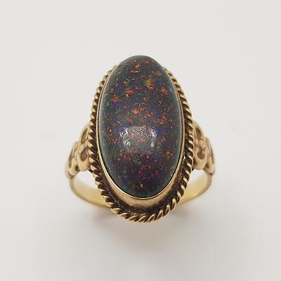 9ct Yellow Gold and Black Matrix Opal Ring