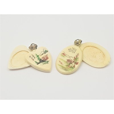 Two Vintage Hand Painted Ivory Lockets