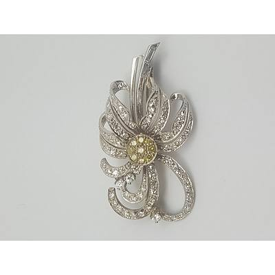 Handmade Art Deco 18ct White Gold and Diamond Brooch with Valuation of $9000