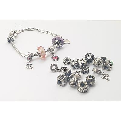 Genuine Pandora Charm Bracelet with Charms
