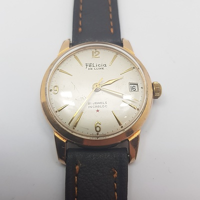 Circa 1960's Felicia Dewluxe 21 Jewel manual Wind Wrist Watch with Leather Band
