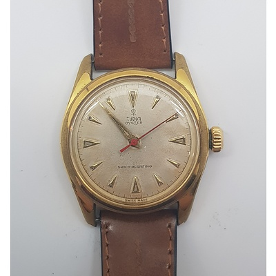 Vintage Rolex Tudor Oyster Wrist Watch with leather Band Circa 1970's