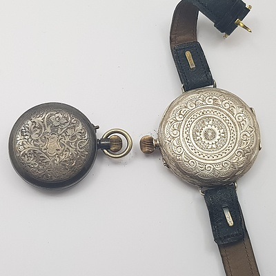 Sterling Silver Ladies Pocket Watch and Sterling Silver Fob Wrist Watch