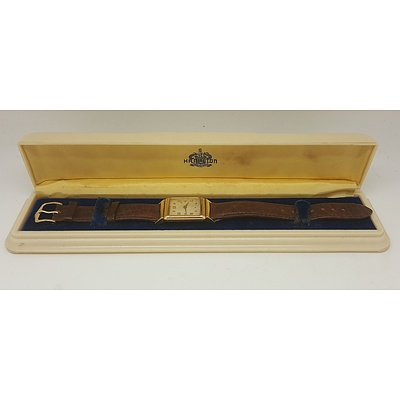 1960's Hamilton 14ct Yellow Gold Men's Wrist Watch in Original Case
