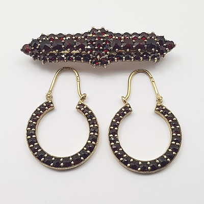 Vintage Silver and Garnet Gold Wash Brooch and Matching Earrings