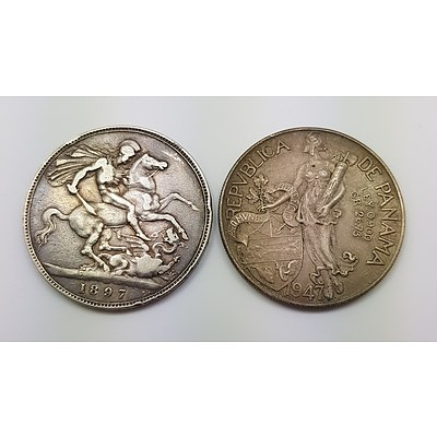 Two Silver World Coins: 1897 Crown and 1947 One Balboa