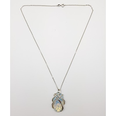 Sterling Silver Necklace with Sterling Silver Encased Moonstone Drop Pendant