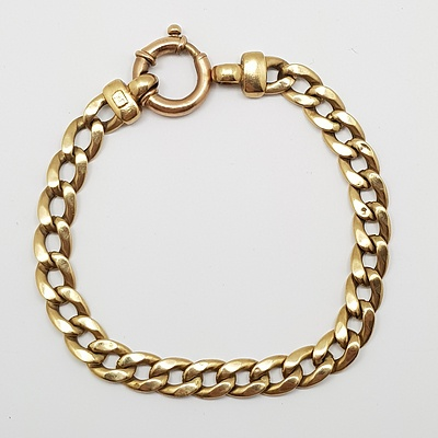 9ct Yellow Gold Flat Curb Link Bracelet