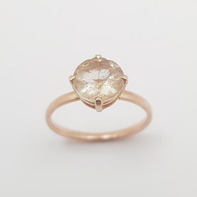 10ct Rose Gold and Rutilated Quartz Ring