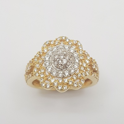 18ct Two Tone Yellow/White Gold CZ Ring