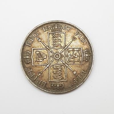 1887 Silver English Double Florin