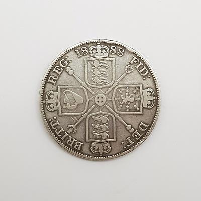 1888 Silver English Double Florin