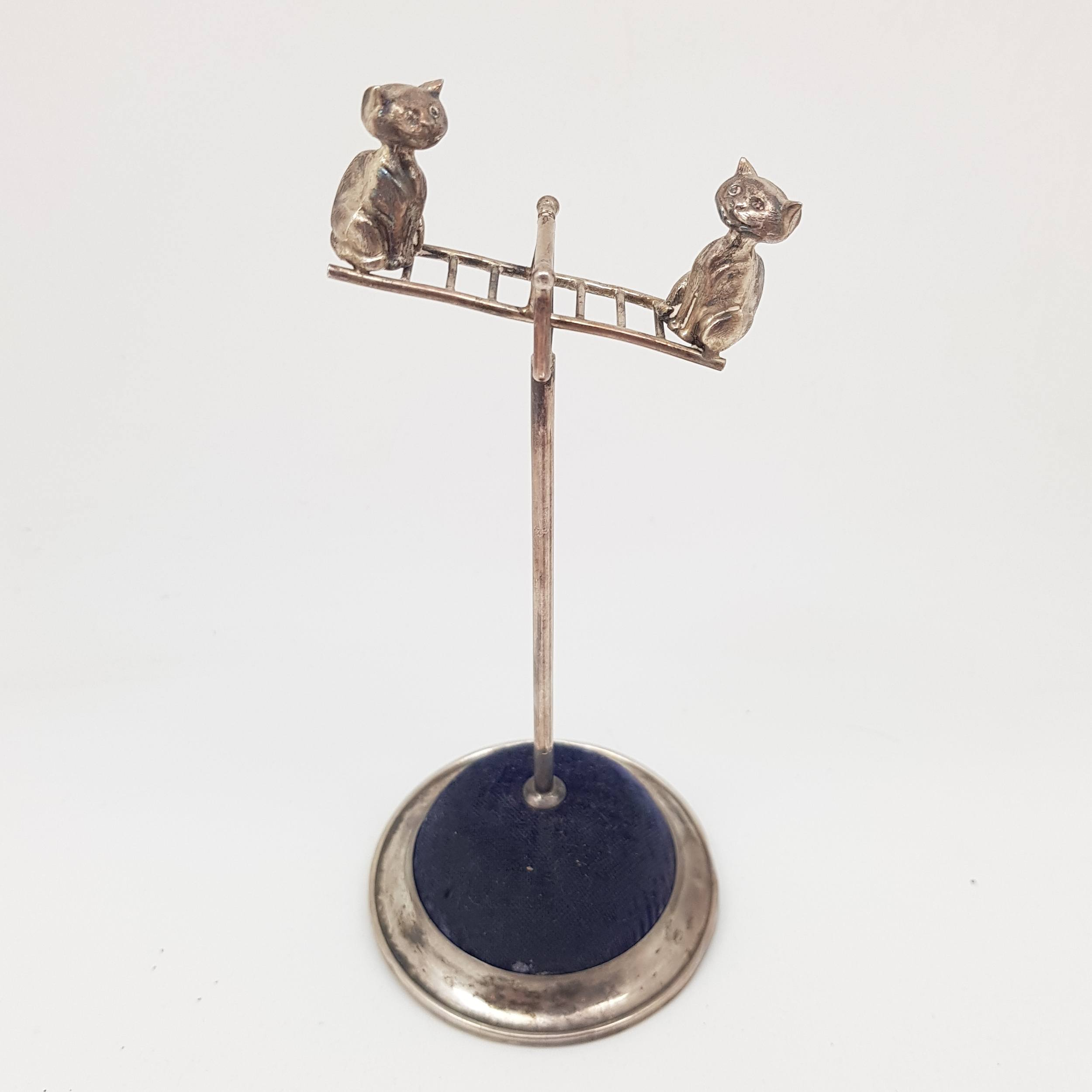 'Edwardian Sterling Silver Hat Pin Stand - Cats on a Seesaw (moving parts), William Vale and Sons, Birmingham 1908'