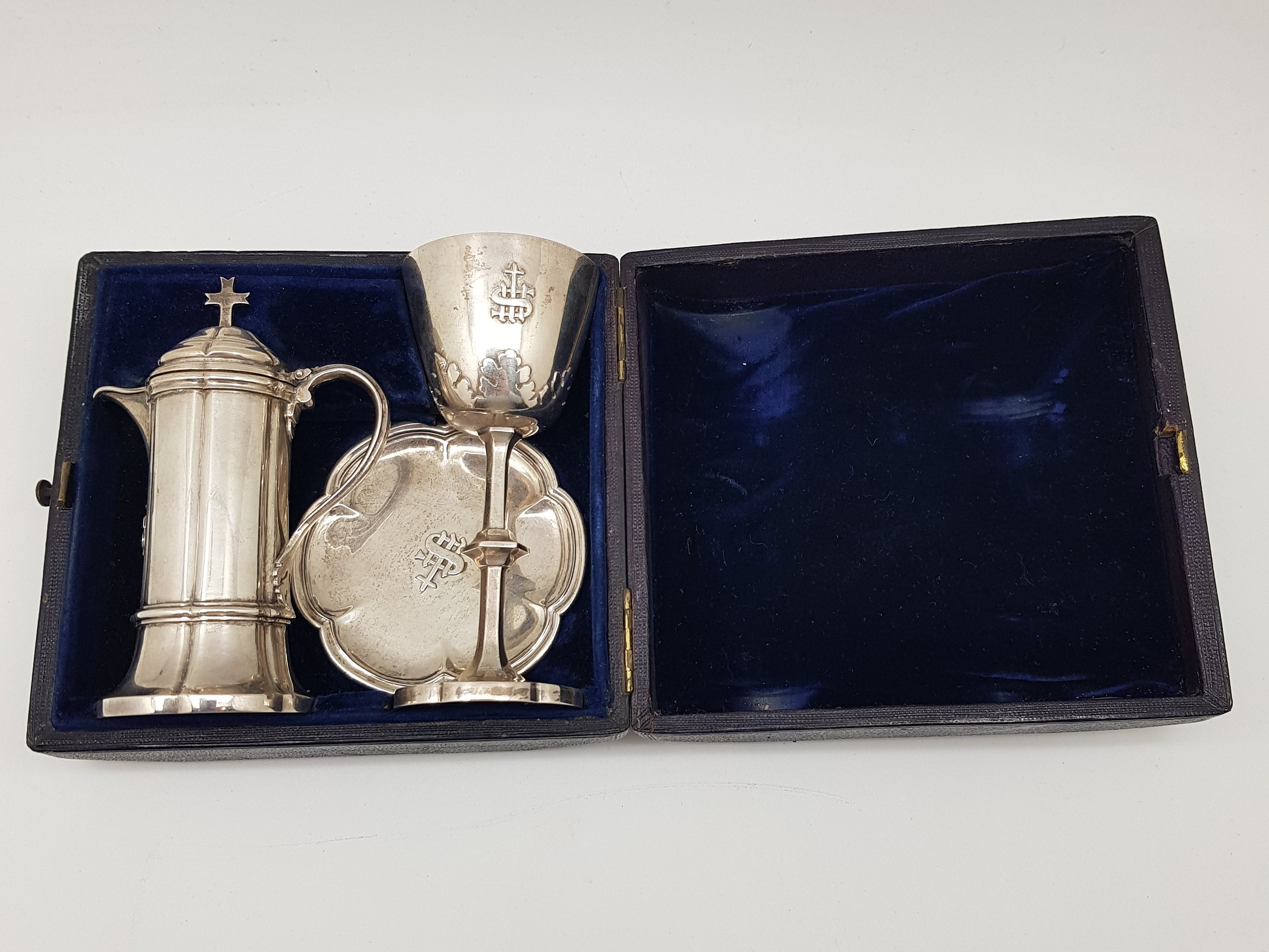 'Victorian Sterling Silver Three Piece Holy Communion Travel Set Boxed in Plush Case- George Ivory, London 1848'
